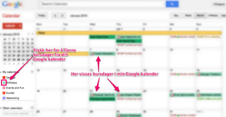 Fjerne bursdager fra Google kalender